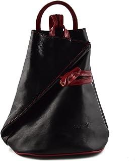 Zaino In Vera Pelle Per Donna Con Bretelle A Cerniera Colore Nero Rosso - Pelletteria Toscana Made In Italy - Zaino