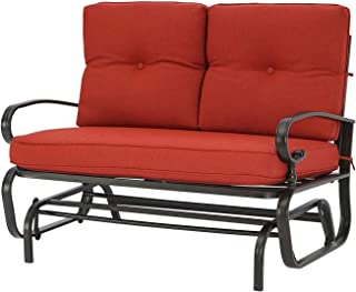 Cemeon Outdoor Loveseat Glider Patio Swing Glider Rocking Chair Bench for 2 Person, Steel Frame Chair with Cushions (Red)