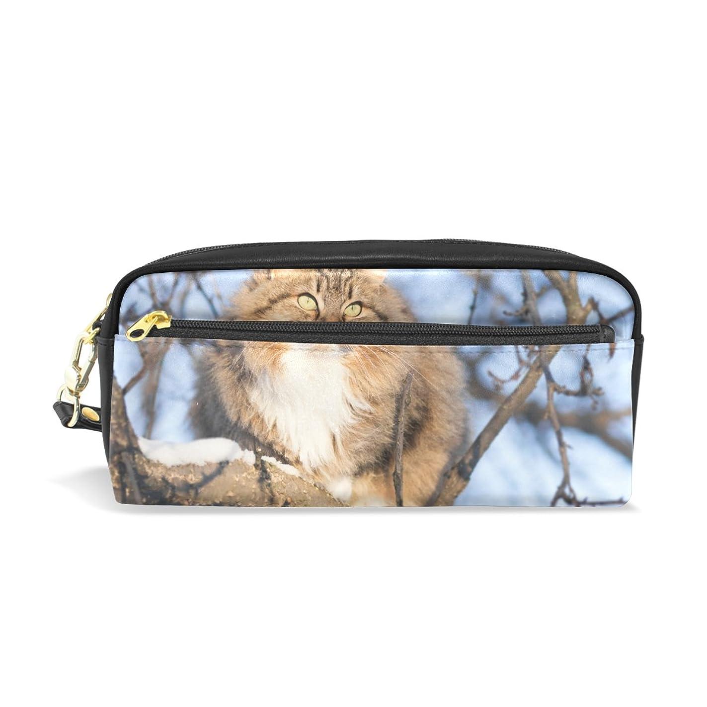 舗装準備ができて普遍的なAOMOKI ペンケース ペンポーチ おしゃれ かわいい 化粧ポーチ 小物入り 多機能バッグ 男女兼用 プレゼント ギフト かわいい猫 開いたら 猫がいる