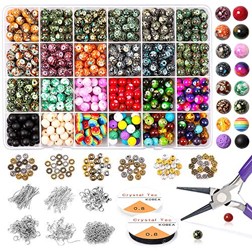 Yholin 1580pcs Chakra Beads Kit, 8mm 18 Colors Acrylic Round Glass Beads in Different Pattern with Wood Beads,Lava Beads,Rondelle Spacer,Findings,Jump Rings and Elastic String for Jewelry Making