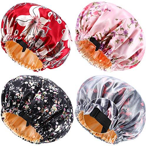 4 Pièces Bonnet en Satin Bonnet de Sommeil Réglable Bonnet à Cheveux Imprimé Double Couche Grand Bonnet de Nuit en Soie Réversible pour Cheveux Bouclés(Floral, Flamant Rose, Fleur)