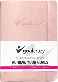 Goal Crazy Undated Planner - 90 Day Guided Journal, 2019 2020 Weekly Organization, Productivity Habit Tracker, Inspiration...