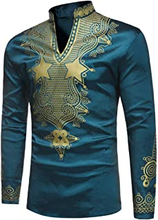 Men's African Style Print Long Sleeve 1/4 Zipper Dashiki Shirt Top Blouse