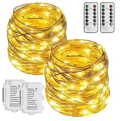 Starker LED Lichterkette mit Fernbedienung 8 Modi IP65 Wasserdicht Lichterketten, 10m Lang, 2er (100 Lichterkette)