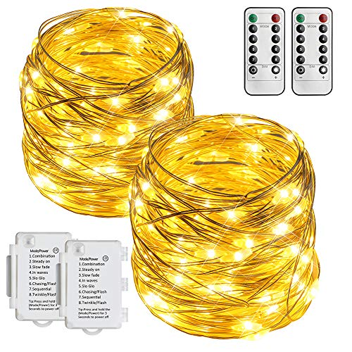 [2 Pack] STARKER Battery Operated Fairy Lights, 10m 100 LED Outdoor Christmas Lights with Remote, 8 Modes Flexible String Lights for Garden, Bedroom, Christmas Decoration (Warm White, Dimmable, Timer)