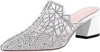 BeiaMina Women Fashion Closed Toe Mules Heels Sandals Slip On