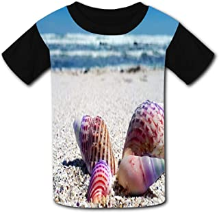 Rainbow-Colored Conch Shells Child Short Sleeve Fashion T-Shirt of Boys and Girls