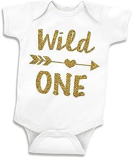 Baby Girls First Birthday Outfit, Wild One Bodysuit (12-18 Months)
