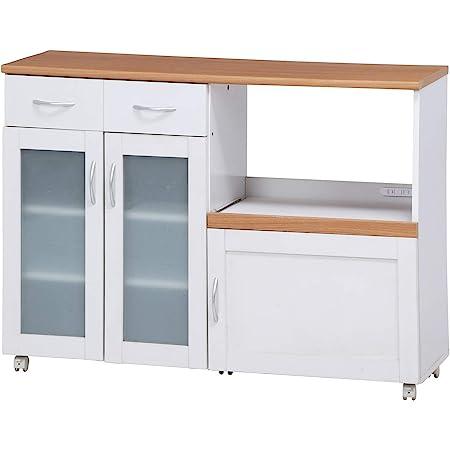 不二貿易 キッチン収納 キッチンカウンター 幅120cm ホワイト スライド棚 コンセント付き サージュ 99523