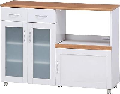 不二貿易 キッチン収納 キッチンカウンター 幅120cm ホワイト スライド棚 コンセント付き サージュ 96820