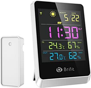 Brifit Wireless Hygrometer Indoor Outdoor Thermometer Humidity Monitor, Weather Station, Large Display Digital Tabletop