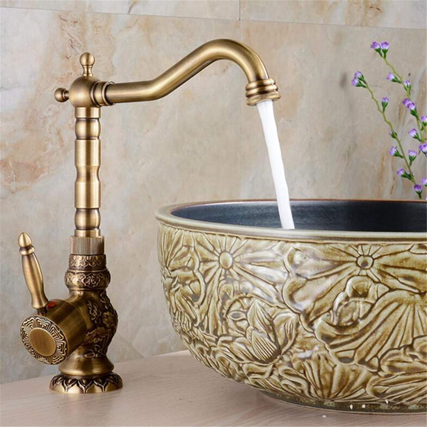 Faucet Retro Carved Basin Faucet redating Single Handle Tap Brass Bathroom Accessories