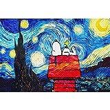 CCEEBDTO Puzzle 1000 Piezas Adultos Puzzle De Madera 3D Puzzle Clásico Snoopy Bajo El Paisaje De Estrellas Coleccionables DIY Decoración Casera Moderna 75X50Cm