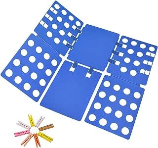 Geniusidea V1 Shirt Folding Board t Shirts Clothes Folder Durable Plastic Laundry folders Folding Boards flipfold-8Wood Natural Clothespins