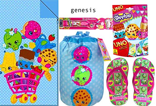 Shopkins Sleeping Slumber Party Bag for Kids 30in X 54in Little Girl's Wedge Flip Flop Sandals, Uno Foil Bag Card Game & Electric Toothbrush