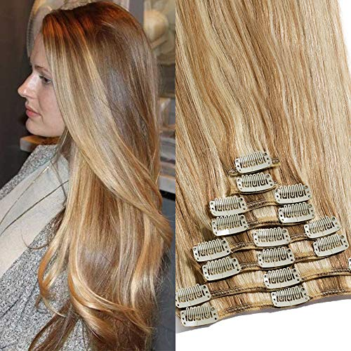 TESS Clip in Extensions Echthaar Haarteile Haarverlängerung Standard Weft Grad 7A Lang Glatt guenstig Remy Human Hair 8 Tressen 18 Clips 33cm-80g(#12/613 Hellbraun/Hell-Lichtblond)