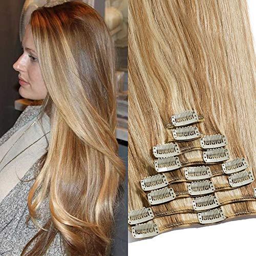 TESS Clip in Echthaar Extensions Ombre Haarverlängerung Standard Weft Grad 7A Lang Glatt guenstig Remy Human Hair 8 Tressen 18 Clips 45cm-100g(#12/613 Hellbraun/Hell-Lichtblond)