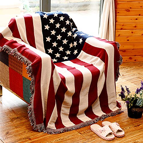MayNest American Flag Throw Blanket Reversible Soft Woven Cotton Thick Large Tassels Rug Vintage USA Military United States Print Knit Tapestry Chair Recliner Loveseat Couch Sofa Cover (Small: 71x51)