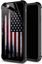 ZHEGAILIAN iPhone 6s Plus Case,9H Tempered Glass iPhone 6 Plus Cases Crack American Flag for Boys Men,Funny Pattern Shockproof Anti-Scratch Case for Apple iPhone 6/6s Plus 5.5-inch Old Flag