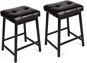 EROMMY Backless Bar Stools with Leather Cushion and Metal Base,30'' Counter Height Dining Chair Set of 2,Square Bar Chair for Kitchen,Bar (30 inch)