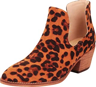 Cambridge Select Women's Pointed Toe Side Cutout Chunky Block Low Heel Western Ankle Bootie