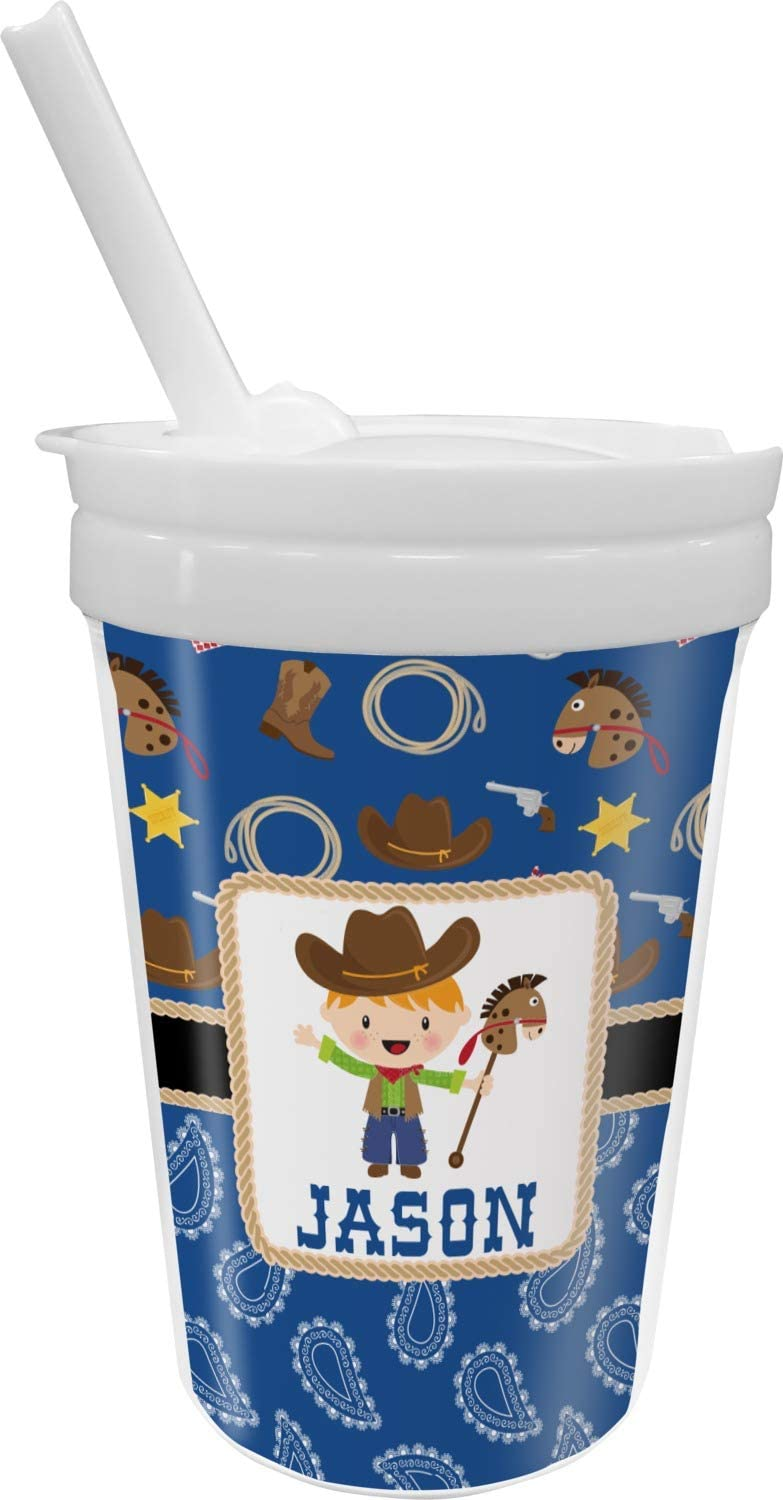 Blue Western Max 72% OFF Sippy Cup Personalized with Straw depot