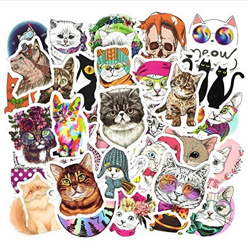50Pcs Katze Kätzchen Aufkleber für Telefon Laptop Skateboard Kühlschr Großartig#