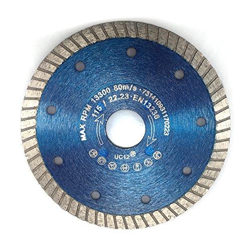 Diamant Fliesentrennscheibe 115 mm | Trennscheibe mit Turbo-Schneidrand | Zum Schneiden von Fliesen, Keramik, Feinsteinzeug, Klinker, Dachziegel und Tonziegel