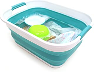 SAMMART 17.5L (4.6 Gallon) Collapsible/Foldable/Pop Up/Portable Washing Tub, Water Capacity 13.5L/3.5 Gallon (1, Bright Blue)