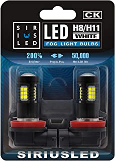 SIRIUSLED H8 H11 LED Fog Light Bulbs DRL 2700 Lumens Super Bright 2835 26-SMD 12V H16 LED Bulbs Replacement for Cars, Truc...