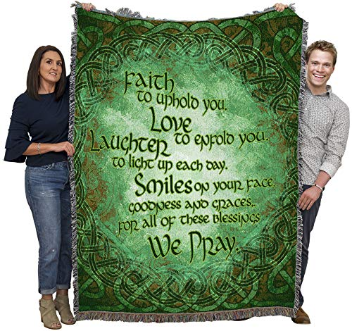 Irish Blessing - Faith to Uphold You, Love to enfold You, Laughter to Light up Each Day - Blanket Throw Woven from Cotton - Made in The USA (72x54)