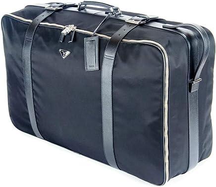 f73117eea87e Prada Black Saffiano Leather   Tessuto Signature Rolling Suitcase Luggage  Bag Very Rare