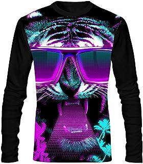 KOLOWER Men`s T-Shirt Miami Tiger Long Sleeve Round Collar