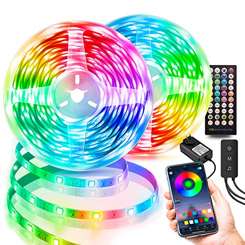 100FT LED Strip Lights, Ultra-Long Music Sync RGB Light Strips, Bluetooth App Control, SMD5050 Color Changing Strip Lights with Remote, LED Lights for Bedroom, Room and Home Decoration (2X50ft)