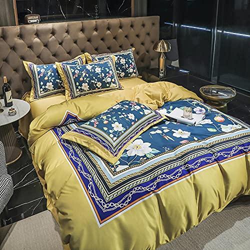 funda de edredón 135-Luz de lujo de 60 años de seda bordado de seda de lavado de agua de seda cama individual de doble cama conjuntos de taladro de una sola bolsa de almohada cubierta de cama de cuat