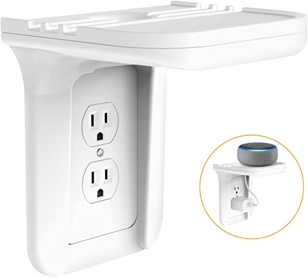 Wall Outlet Shelf Holder Charging Socket Power Perch Organizer Up To 15lbs Easy Install With Standard Vertical Outlet Space Saving Solution For Echo Google Home Cell Phone Smart Speaker