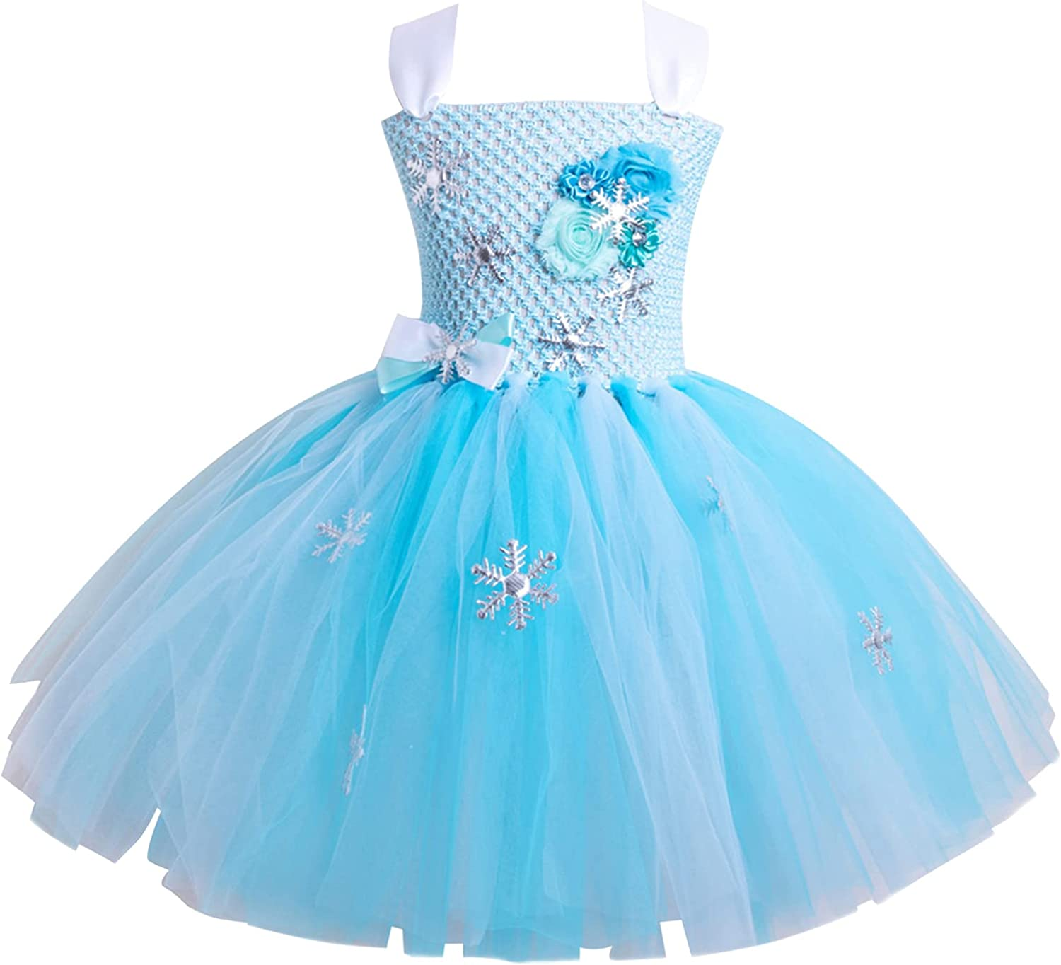 Aislor Kids Girls Pageant Princess Dress Wedding Party Baptism Bridesmaid Snowflake Sequins Mesh Tulle Dress Ball Gown