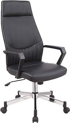 Alphason Brooklyn - Sedia da ufficio con schienale alto, in similpelle, colore: Nero