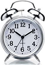 """Sapphire India Alarm Clock for Heavy Sleepers 4"""" Twin Bell Vintage Alarm Clock with Backlight, Silent Sweep Seconds Desk Clock for Bedroom, Battery Operated Loud Alarm Clock (Silver)"""