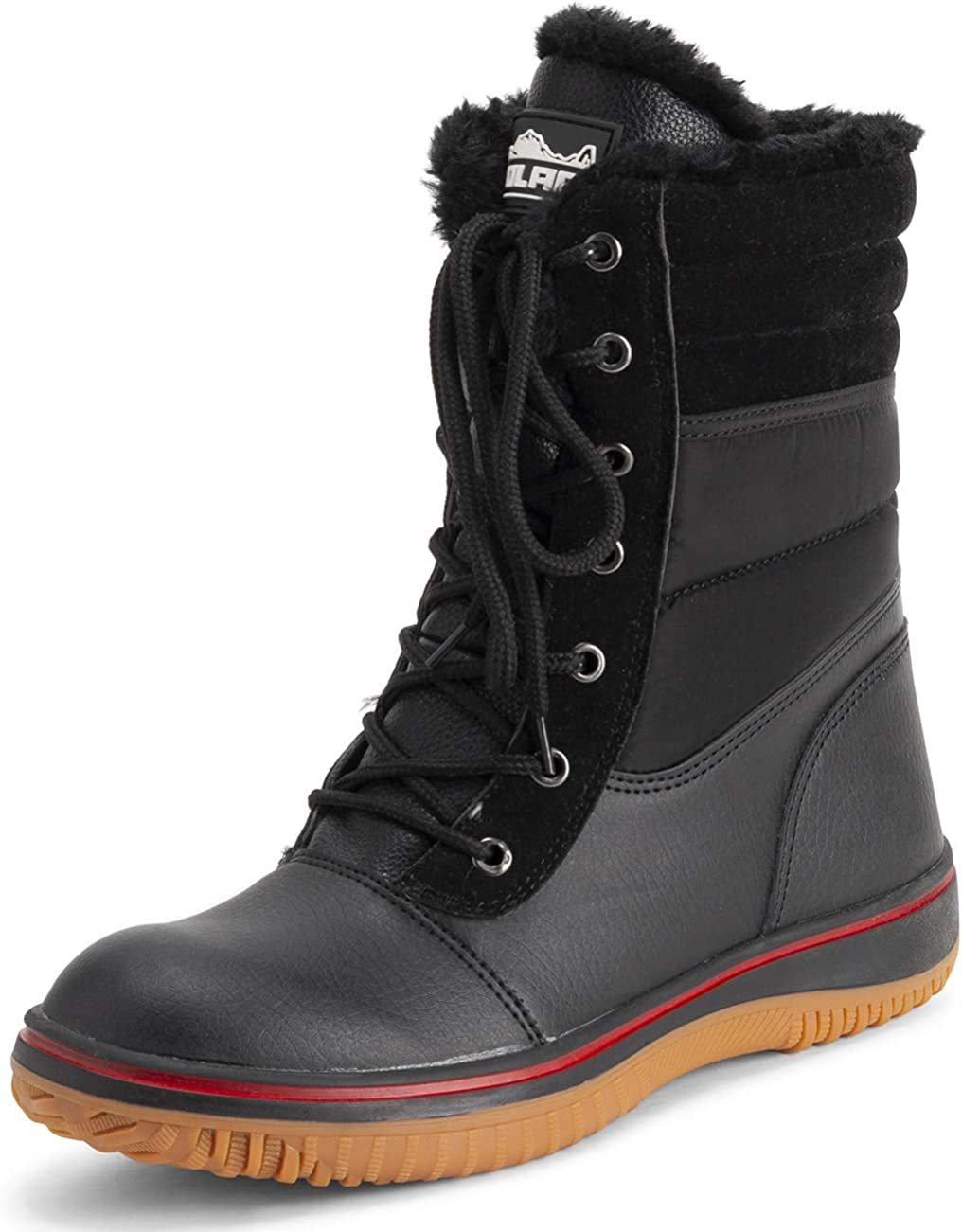 POLAR Womens Memory Foam Contrast Line Rubber Gum Outsole Waterproof Padded Collar Thermal Snow Boots