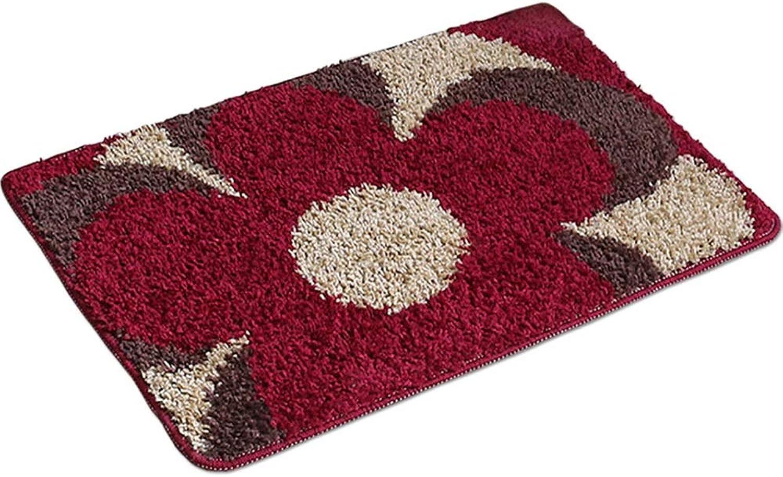 SHATONGCarpet Bathroom Floor mat Door mats in The Door Foyer Absorbent mats Bathroom Entrance Door mats (color   RED, Size   60X90cm)