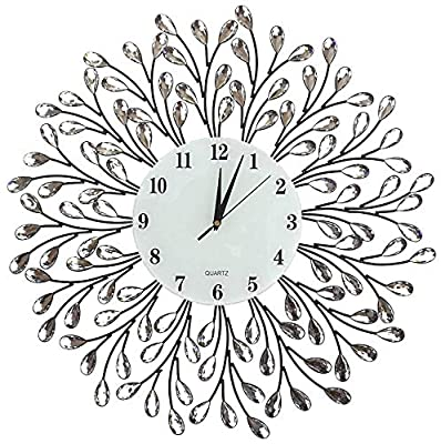 """Lulu Decor, 25"""" Vine Decorative Metal Wall Clock, White Glass Numbers Dial 9.5"""", Crystal Accent Clock Living Room & Bed Room (White Lines)"""