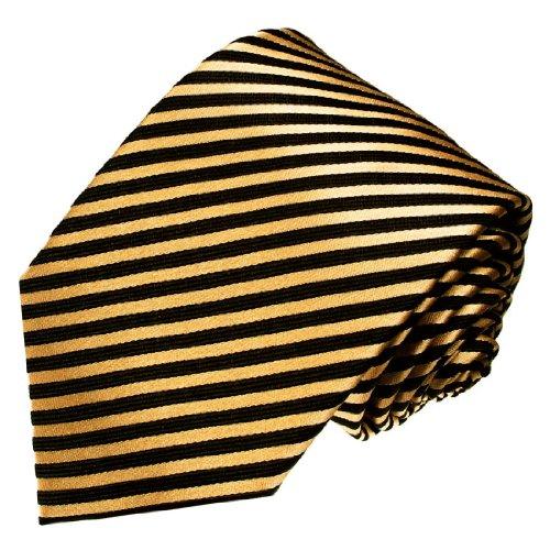 LORENZO CANA - Marken Krawatte aus 100% Seide - Schwarz Gold gestreift Streifen - 84366