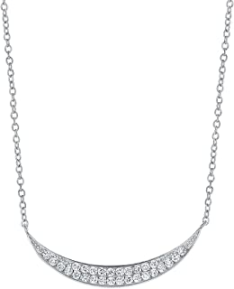 Montage Jewelry Women's Sterling Silver & Cubic Zirconia Moon Shape Chain Necklace