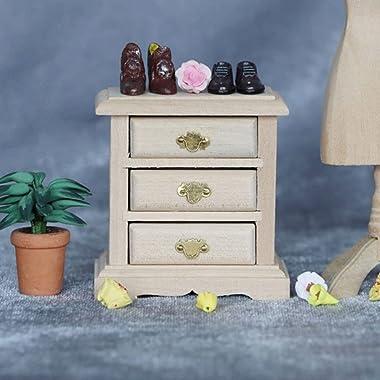 IMIKEYA Maison de Poupée en Bois Tables De Nuit Poupées Maison Meubles Miniature Maison de Poupée Table De Chevet en Bois Min