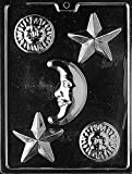 Grandmama's Goodies M147 Celestial Assortment Moon Sun Star Chocolate Candy Mold with Exclusive Molding Instructions