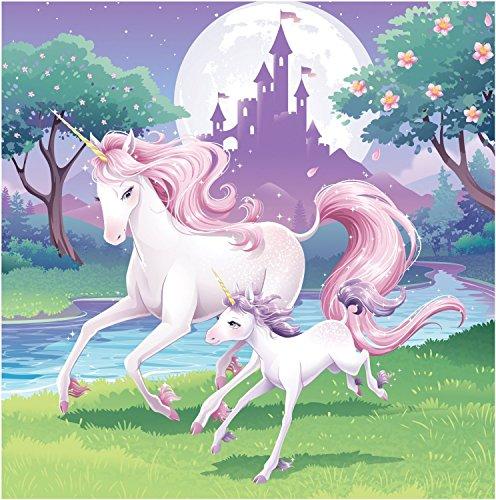 Unicorn and Castle Edible Cake Image Topper 1/4 Sheet