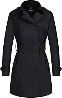 Women's Waterproof Double-Breasted Trench Coat Classic...