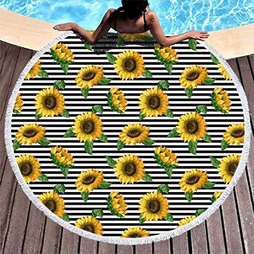 BOBONC vrouwen Sunflower patroon ultralicht mode strandlaken kwast ronde wandtapijt tapijt vrije tijd yoga mat tapijt handgemaakt sjaal 59inch polyester