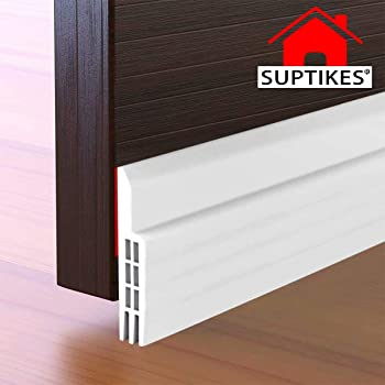 "Suptikes Door Draft Stopper Under Door Seal for Exterior/Interior Doors, Door Sweep Strip Under Door Draft Blocker, Soundproof Door Bottom Weather Stripping, 2"" W x 39"" L, White"